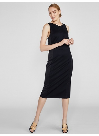 Vekem-Limited Edition Sırt Dekolteli Midi Elbise Siyah